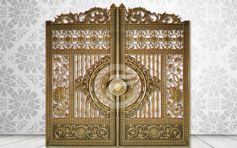 Mẫu cổng nhôm đúc -Mẫu 61: Cổng mở 2 cánh vào trong