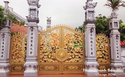 Mẫu cổng nhôm đúc - mẫu 53: Cổng họa tiết Hoa Sen