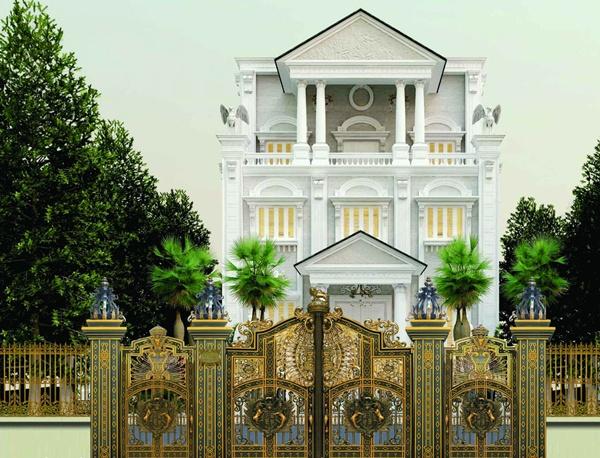 Tư vấn mẫu cổng nhôm đúc cho cổng biệt thự rộng 4,5m